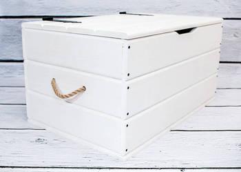 Biała skrzynia biały kufer drewniany Pojemnik Schowek