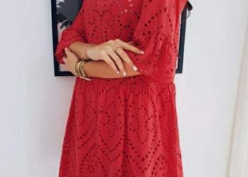 4ba806bd60 Sukienka koronką rozkloszowana S 36 malinowa