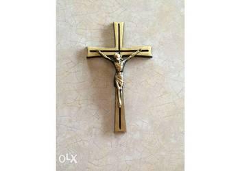 Krzyż mosiężny mosiądz nagrobek granitowy lastryko kamień