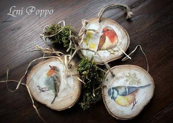 Ptaszki dekoracja zawieszka na plastrach brzozy eko deko