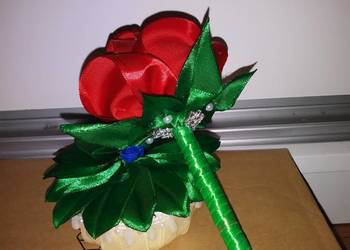 Długopis Róża ze wstążki, rękodzieło. Handmade