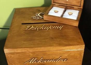 drewniane pudełko na koperty + pudełko na obrączki