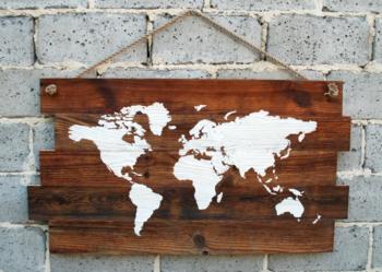 dekoracja ścienna ze starego drewna, ozdoba, mapa świata